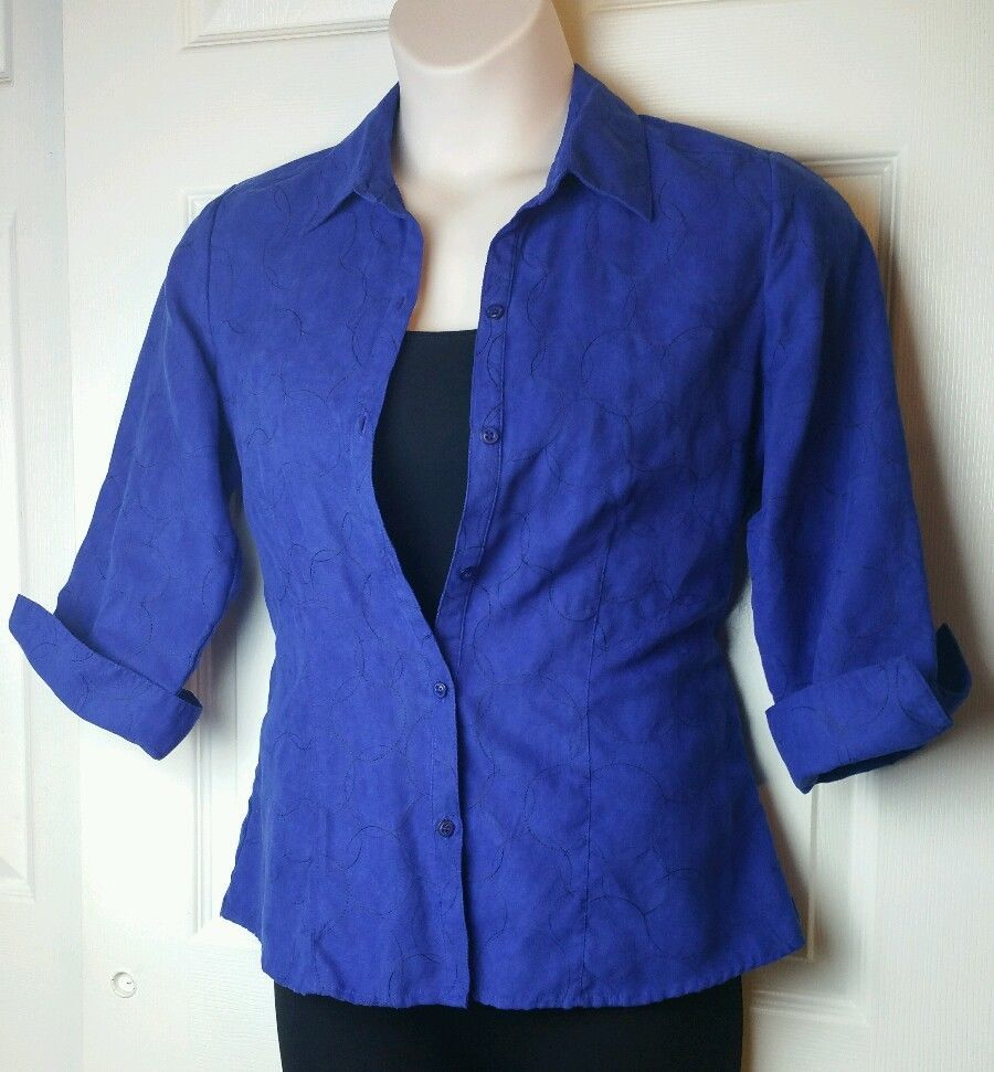 Royal Blue Embroidered Blouse Sz Small Sag Harbor Button Front S Pattern collar #SagHarbor #ButtonDownShirt #Any