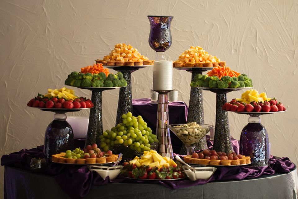 Etizers For Weddings Cute Set Up Various Size Vases Turned Upside Down With Platter On Top Risers
