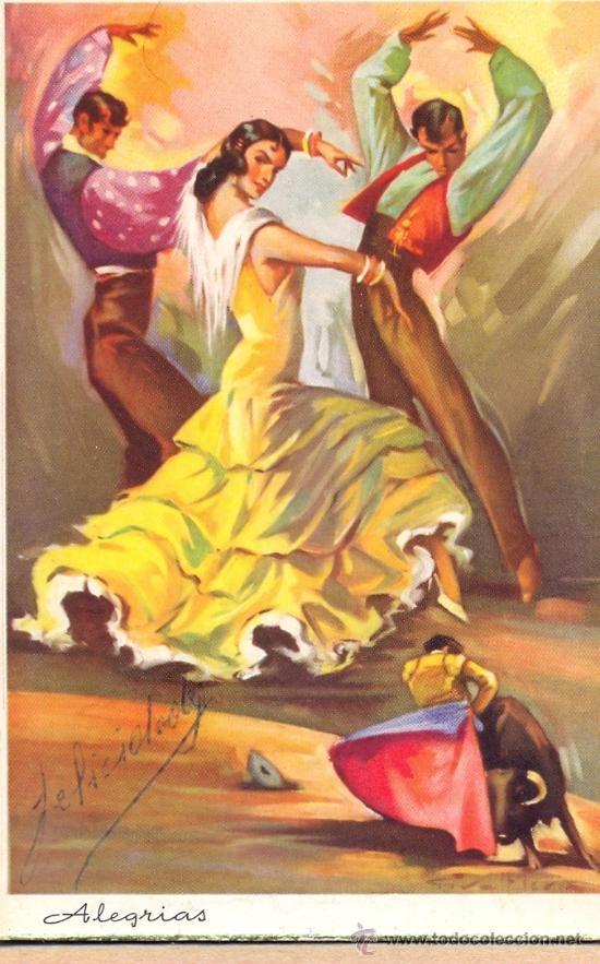 POST 262 - POSTAL CIRCULADA - BAILE FLAMENCO Y TOROS (Postales - Dibujos y Caricaturas)