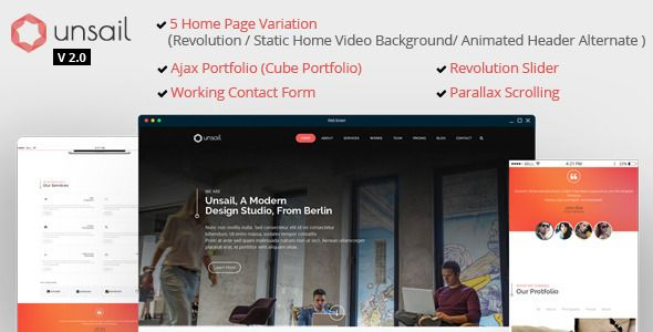 Unsail One Page Parallax Html Template Website Templates