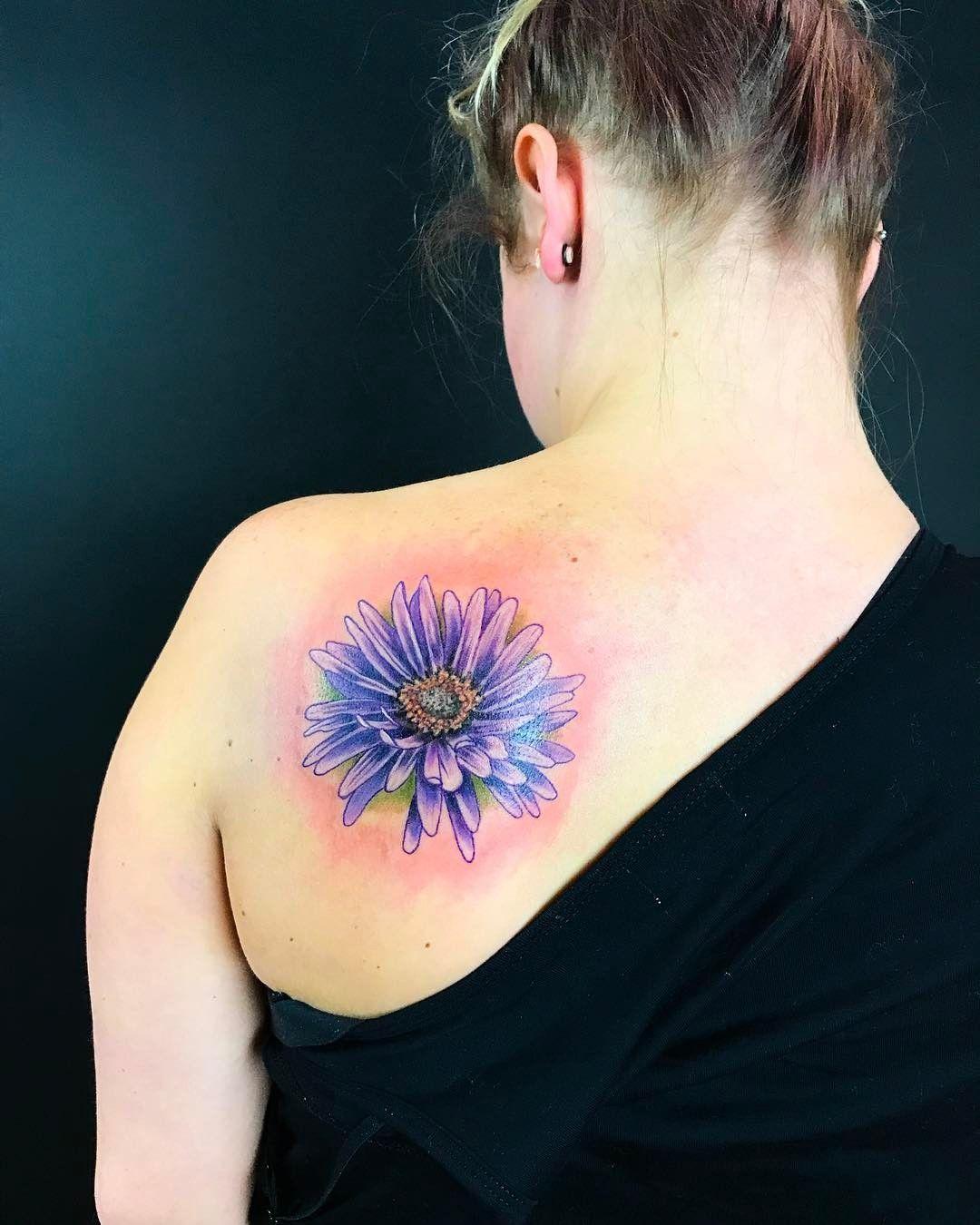 16 Beautiful Birth Flower Tattoos For September Babies Birth Flower Tattoos Aster Flower Tattoos Flower Tattoo Shoulder