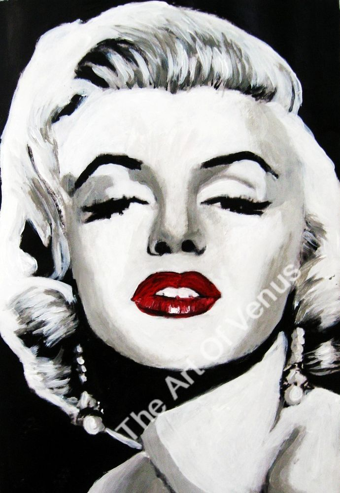 SIGNED Original Painting Art Print MARILYN MONROE Celebrity Pop Portrait PopArt