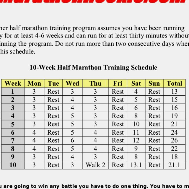 My  Week Training For A Half Marathon I Have Used This One