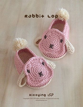 Zapatos conejo bebé ganchillo patrón conejo bebé botines conejito ...