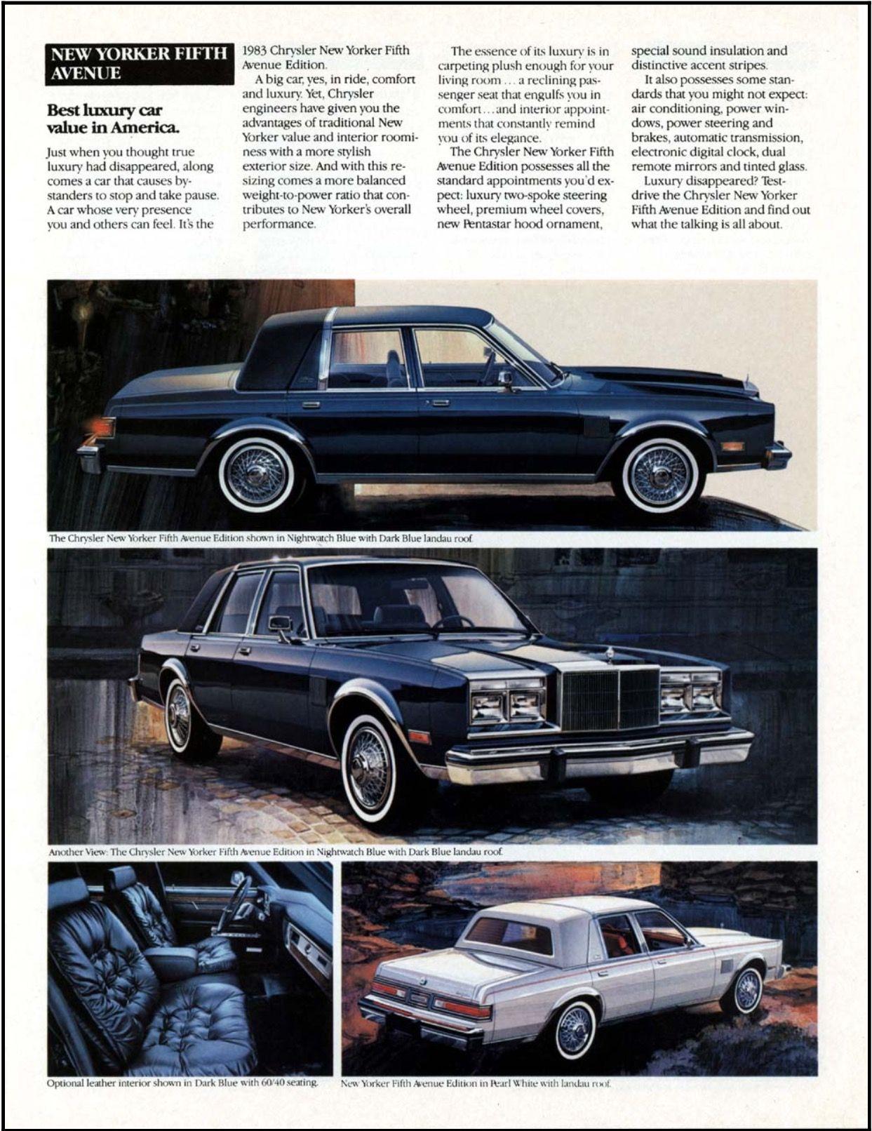 1983 Chrysler New Yorker Fifth Avenue Chrysler Chrysler New Yorker Automobile Advertising