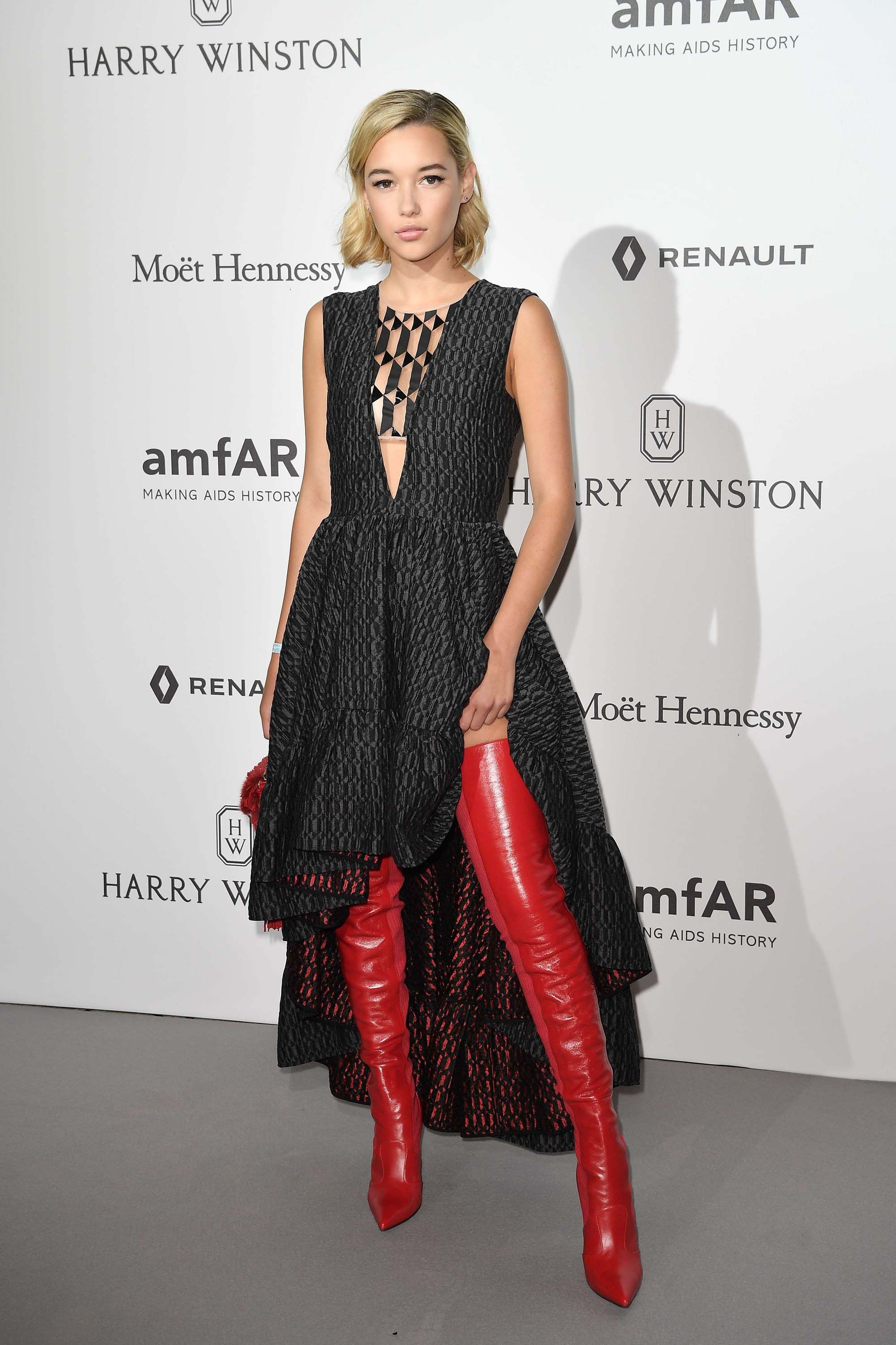 46b4564f997 Sarah Snyder attends amfAR Gala. women s fashion and street style. burgandy    wine   red thigh high boots. fall   winter looks.