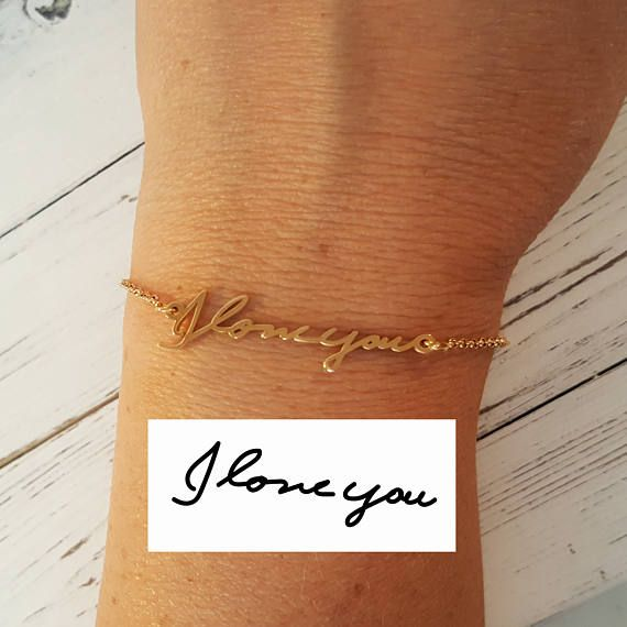d3d883310a261 Solid 14K Yellow Gold Handwriting Bracelet - Custom made actual ...