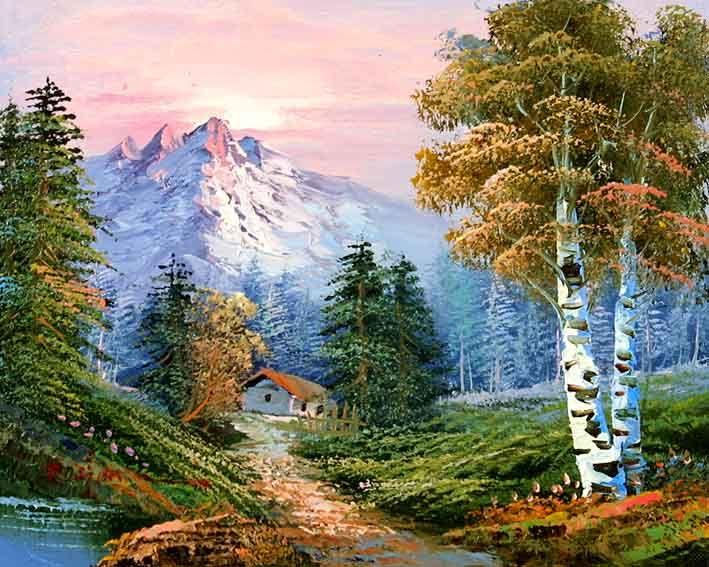 Classic Mountain Landscape Mountain Landscape Painting Mountain Landscape Landscape Art