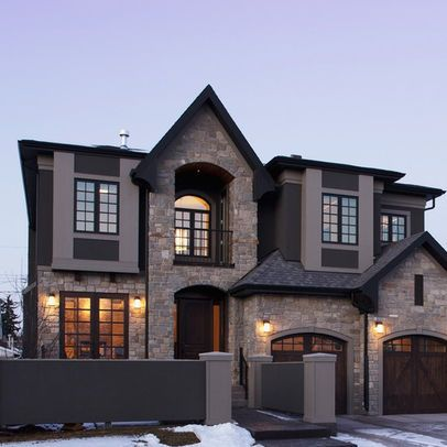 Exterior Stone And Shingle Design Ideas Pictures Remodel And Decor House Exterior House Stone Exterior Houses