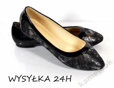 Klk K1447 Balerinki Czarne Szpic Wezowa Skora 5848785054 Oficjalne Archiwum Allegro Heels Kitten Heels Shoes