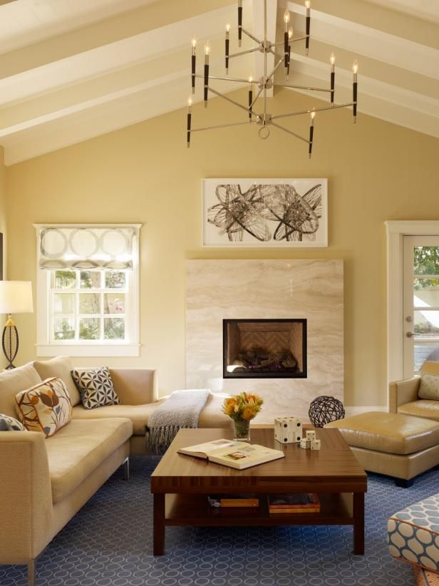 Living Room With Fireplace And Beamed Ceiling Living Room Colors
