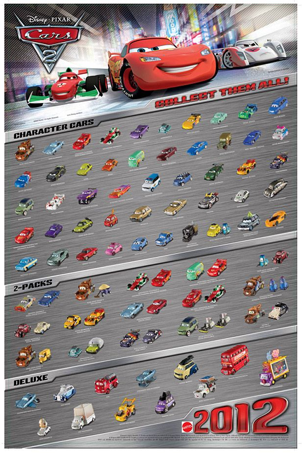 Mattel Disney Pixar Cars 2 Diecast New International Poster With