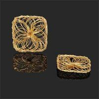 30MM HANDMADE WIRED SQUARE PENDANT FOREVER GOLD 1PC