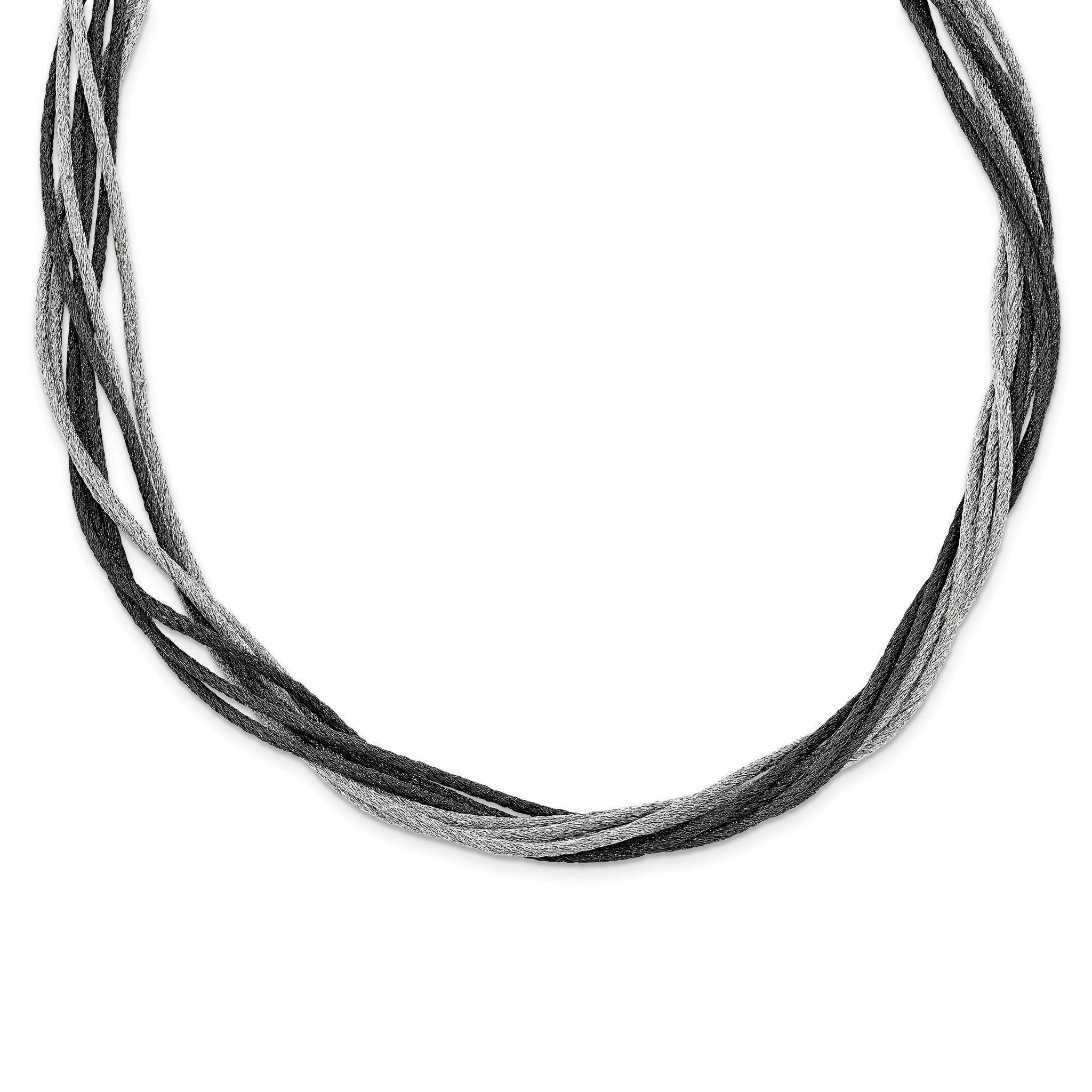 Sterling Silver Black Rhodium Wire Mesh Necklace QG3836-18 ...