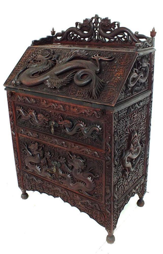 Victorian carved chinese dragon bureau antique bog oak for Oriental wood carved furniture