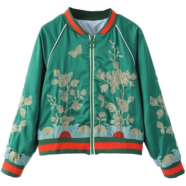 Green Stripe Detail Embroidery Bomber Jacket ($61) ❤ liked on Polyvore featuring outerwear, jackets, green bomber jacket, embroidered bomber jacket, green jacket, green flight jacket and flight jacket