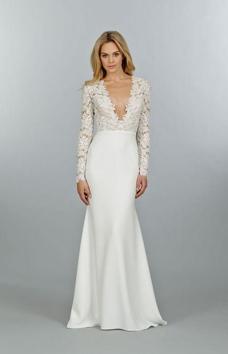 5bddeff633066 Click to see 46 wedding dresses we love, including this long-sleeve gown  with lace sleeves and a deep v-neck.