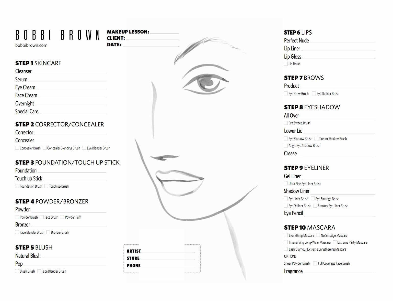 Face Chart Makija Make Up  Face Chart    Face