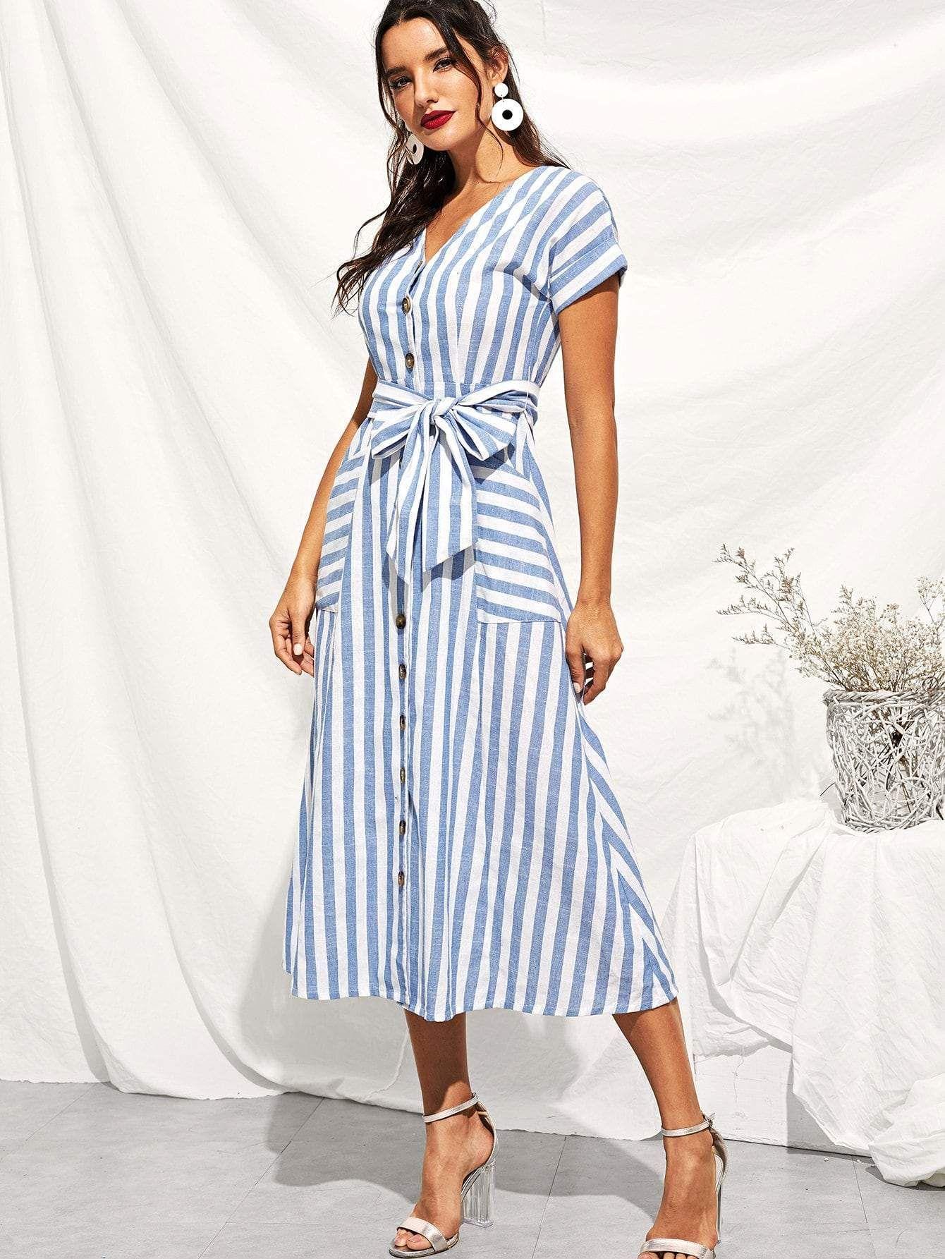 Button Through Patch Pocket Striped Midi Dress Striped Midi Dress Stripe Outfits Knit Midi Dress [ 1785 x 1340 Pixel ]