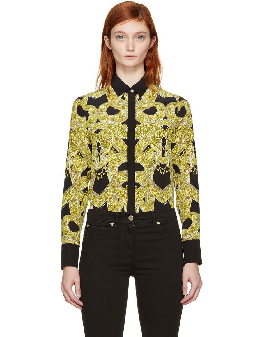 247ecd988d b>VERSACE</b><br> Black Silk Baroque Shirt in 2019 | Women Clothing ...
