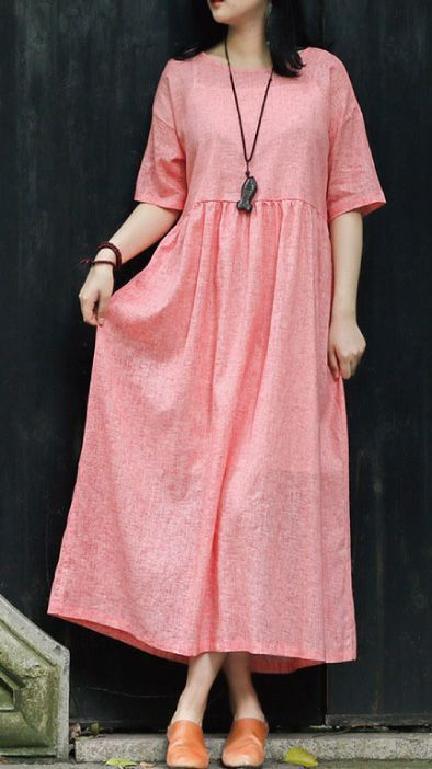 French o neck wrinkled linen clothes Runway pink loose Dresses Summer French o neck wrinkled linen clothes Runway pink loose Dresses Summer