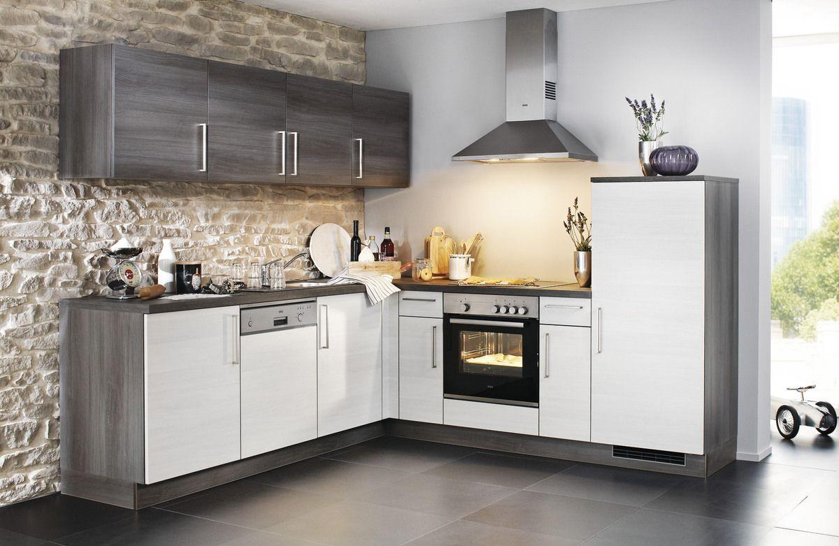 manhattan winkelk che mit pflegeleichter front in eiche polarsilber nachbildung. Black Bedroom Furniture Sets. Home Design Ideas