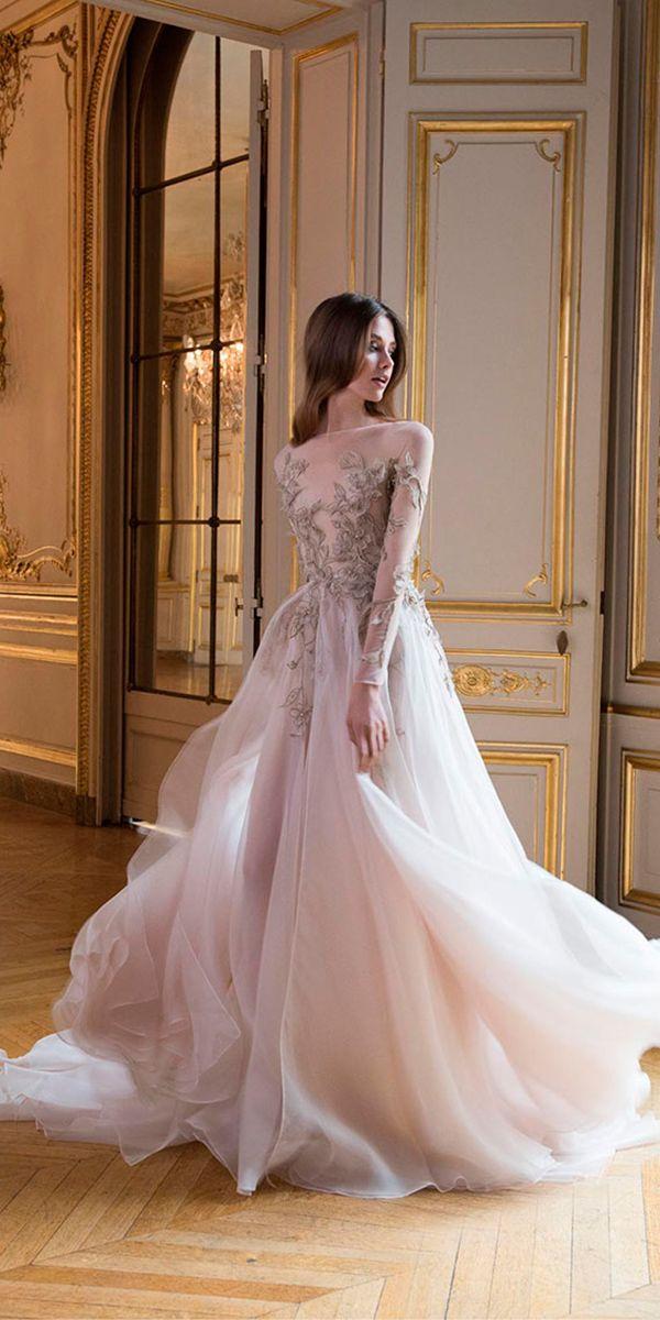 e118438cba654 15 Gorgeous Paolo Sebastian Wedding Dresses ❤ colorful a line illusion boat  neckline 3d floral wedding