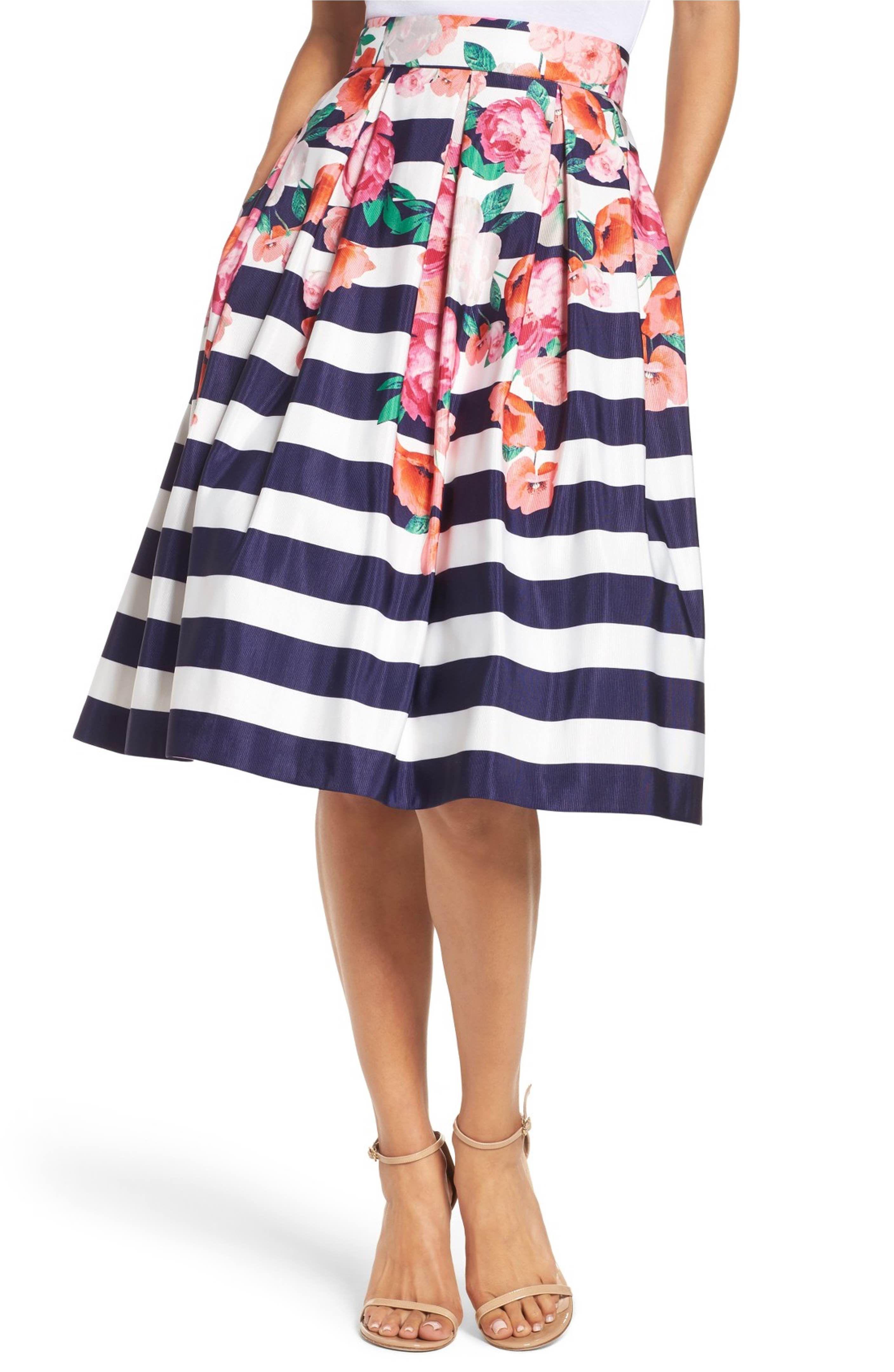 Main image eliza j floral stripe midi skirt modcloth