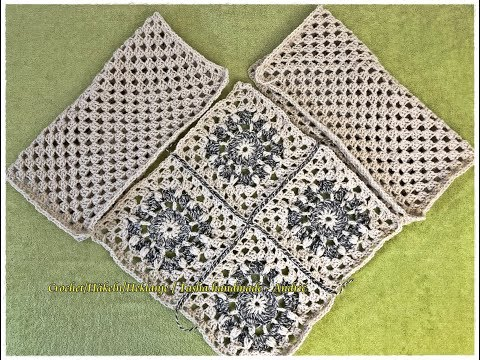Learn how to crochet Granny Squares Poncho of pure natural sheep's wool - Part 1 - Step by step