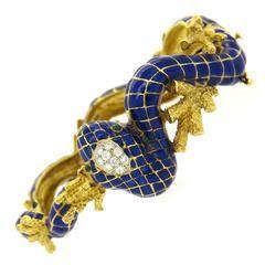 1960s Enamel Diamond Gold Snake Bracelet