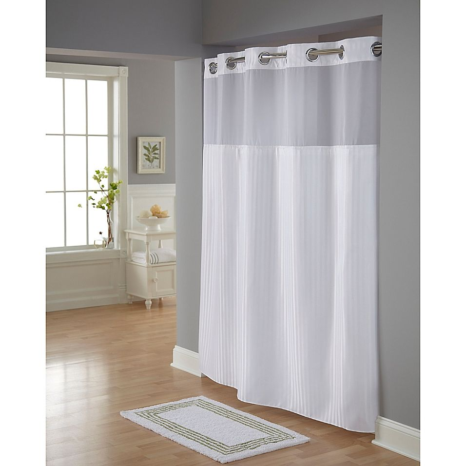 Hookless Classic Herringbone Shower Curtain In White In 2020