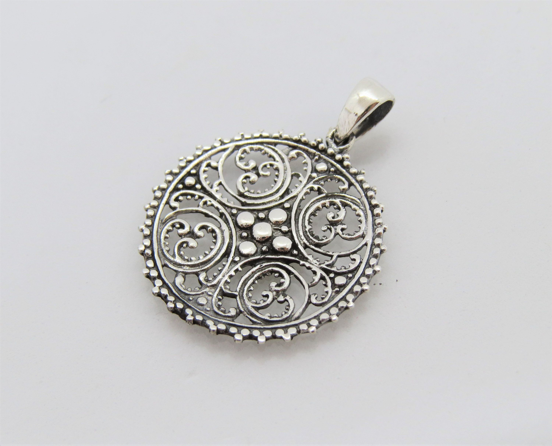 Vintage Bali Sterling Silver Filigree Charm Pendant