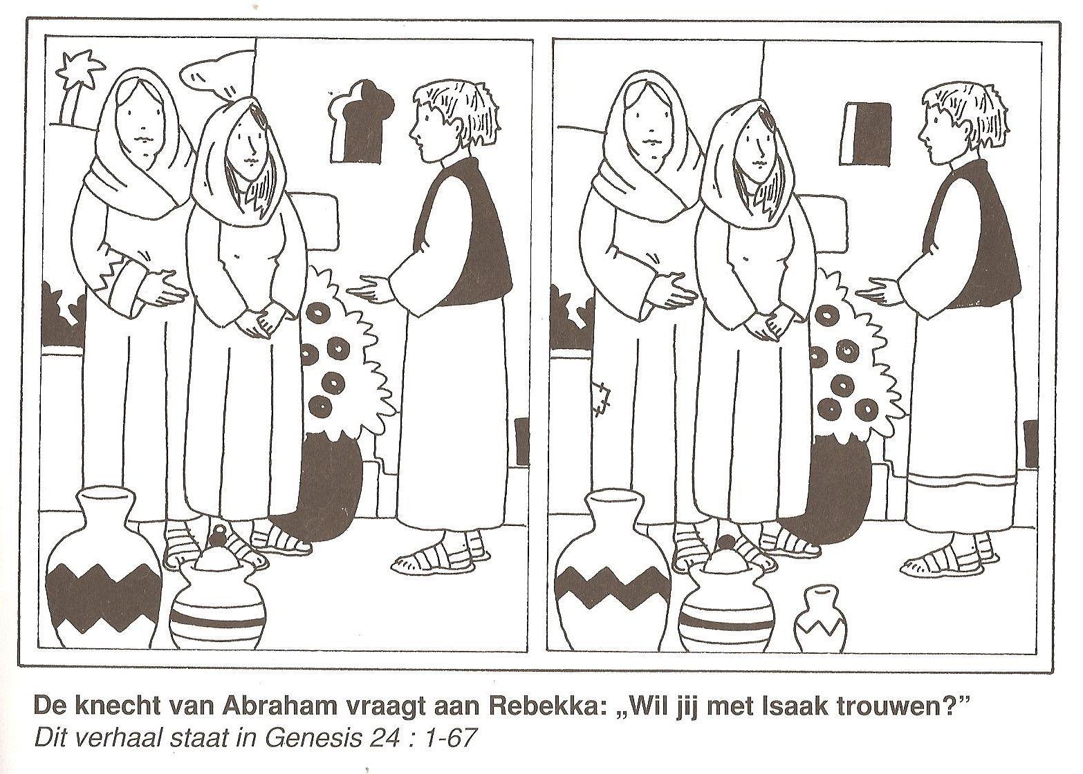 De Knecht Van Abraham Vraagt Aan Rebekka Wil Jij Met Isaak Trouwen Zoek De 10 Verschillen Christelijke Knutsels Bijbel Kleurplaten Bijbel Knutselen