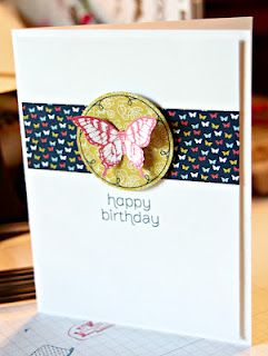 love this card! circle around the butterfly is a design from the patio party dsp! Stamping with Kim