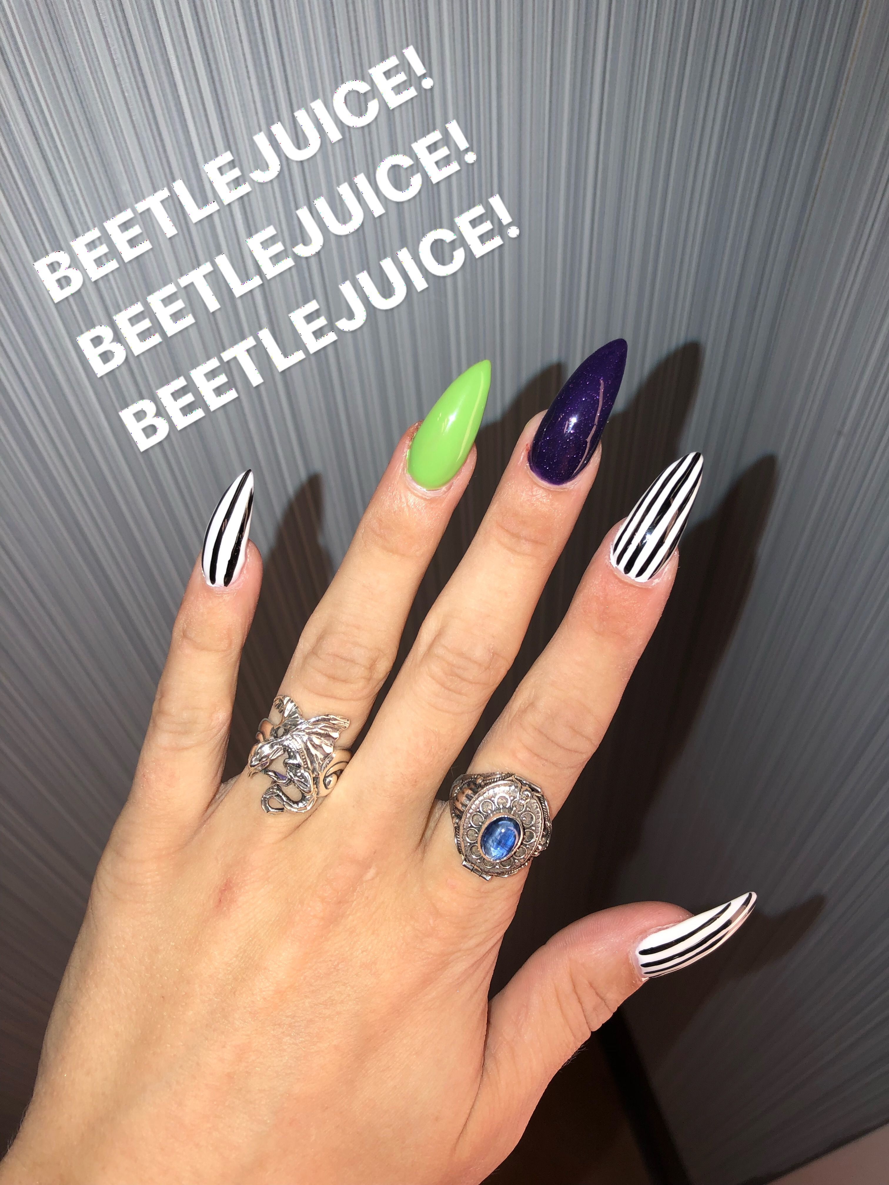 Beetlejuice Gel Nails Halloween Nails Easy Halloween Nails Diy Halloween Nail Art Easy