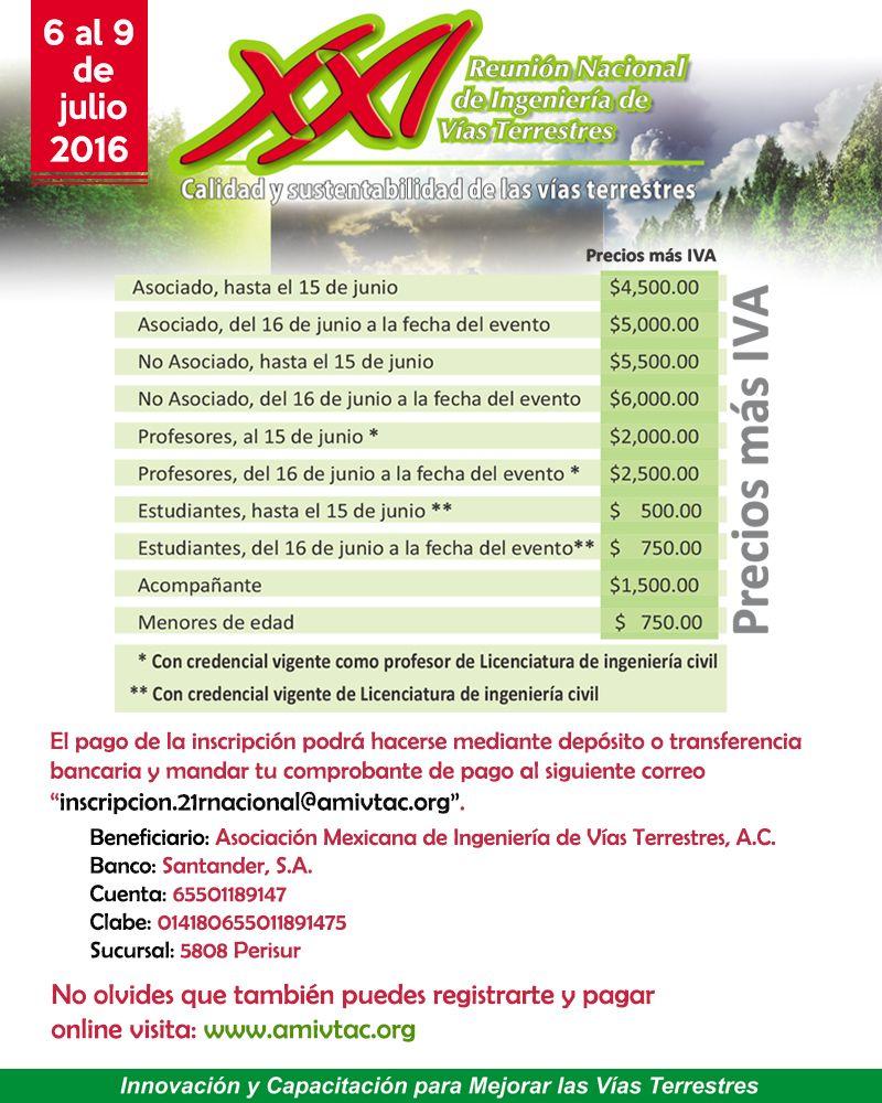 Aprovecha los descuentos para inscribirte en la XXI Reunión Nacional de Ingeniería de Vías Terrestres a celebrarse en la ciudad de Puerto Vallarta, Jalisco.