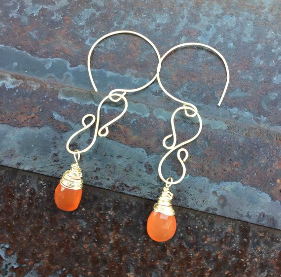 Faceted Carnelian Teardrop Briolette dangle Earrings