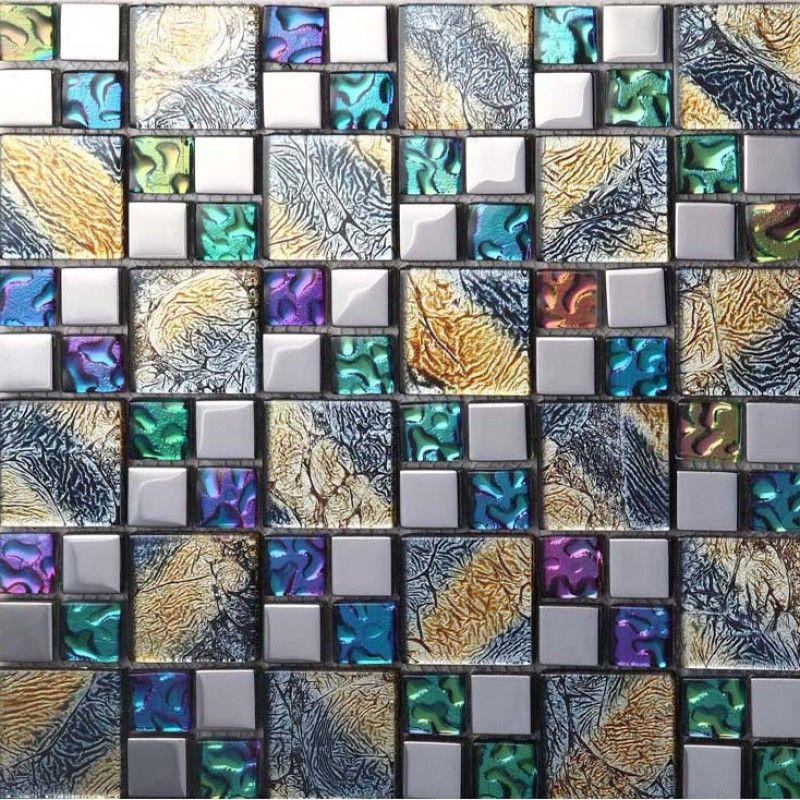 Iridescent Glass Mosaic Tile Brick Plating Crystal Glass Wall Tile Backsplash Bravotti Com Iridescent Mosaic Glass Mosaic Tiles Mosaic Bathroom Tile