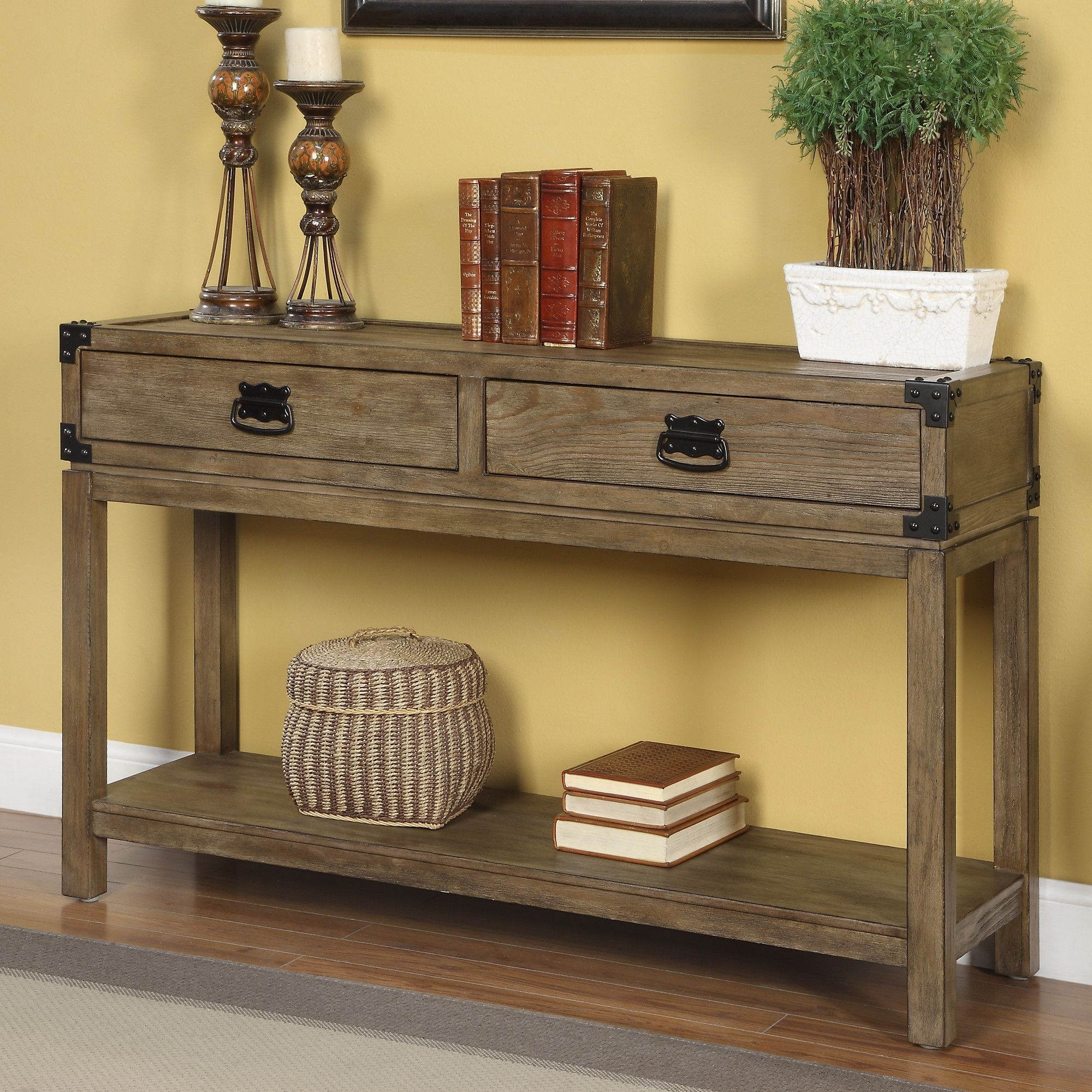 Coast To Coast Imports 2 Drawer Console Table Reviews Wayfair With Images Rustic Console Tables Rustic Consoles Farmhouse Console Table