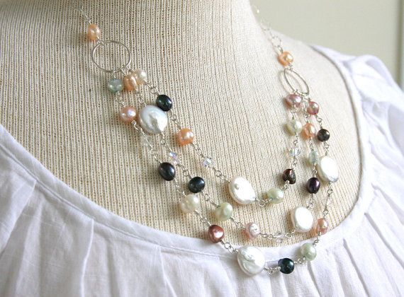 Freshwater pearl necklace wire wrapped by HollyMackDesigns on Etsy