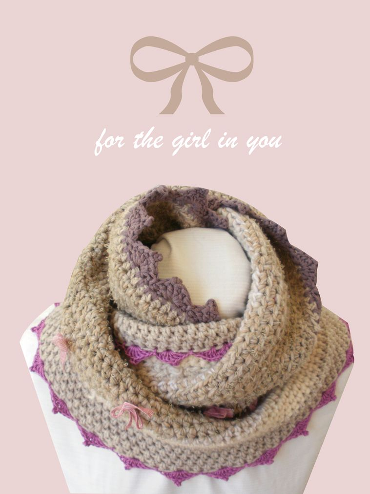Crochet inspiration ~ Beige cowl chunky crochet with lace and bow ties.