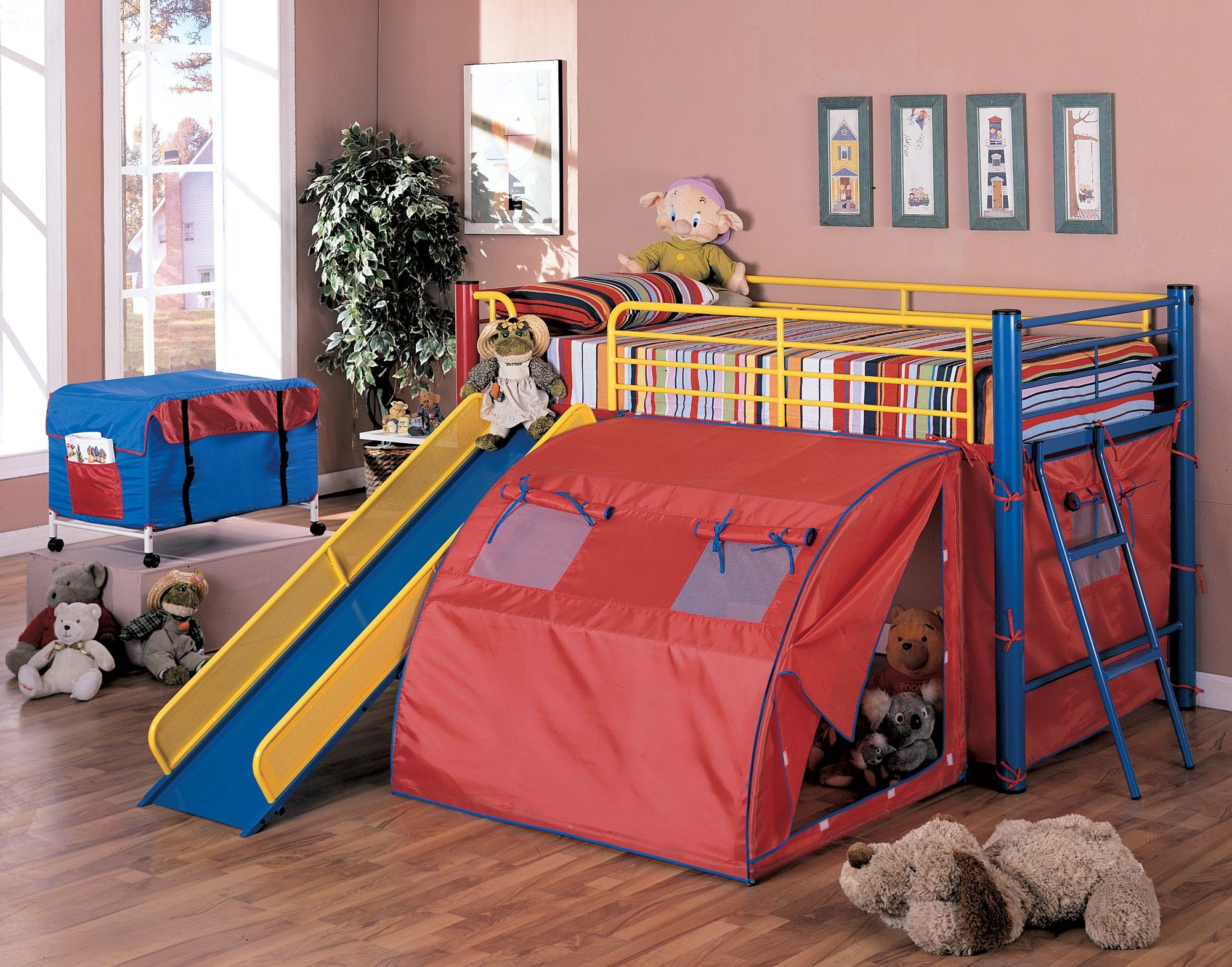 Red And Yellow And Blue Twin Loft Bed # Caio Muebles Infantiles