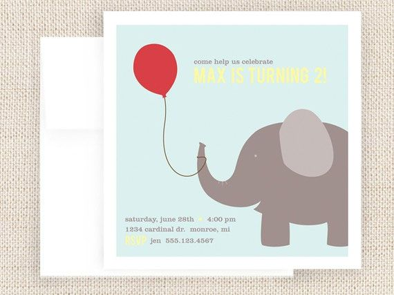 Elephant Birthday Party Invitations Elephant – Elephant Party Invitations