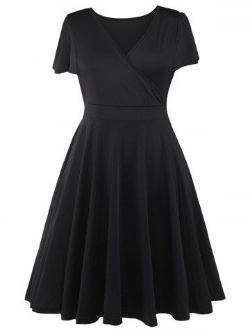 Plus Size Surplice Casual Dress - BLACK 5XL