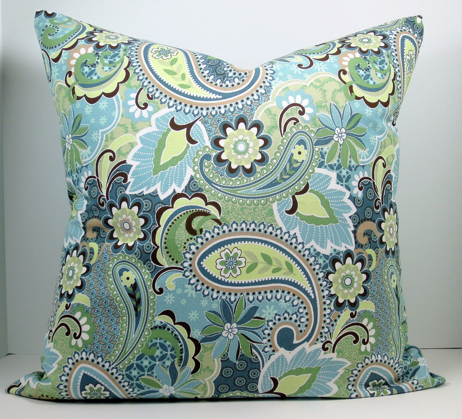 Shades Of Blue And Green Paisley Decorative Throw Pillow Cover
