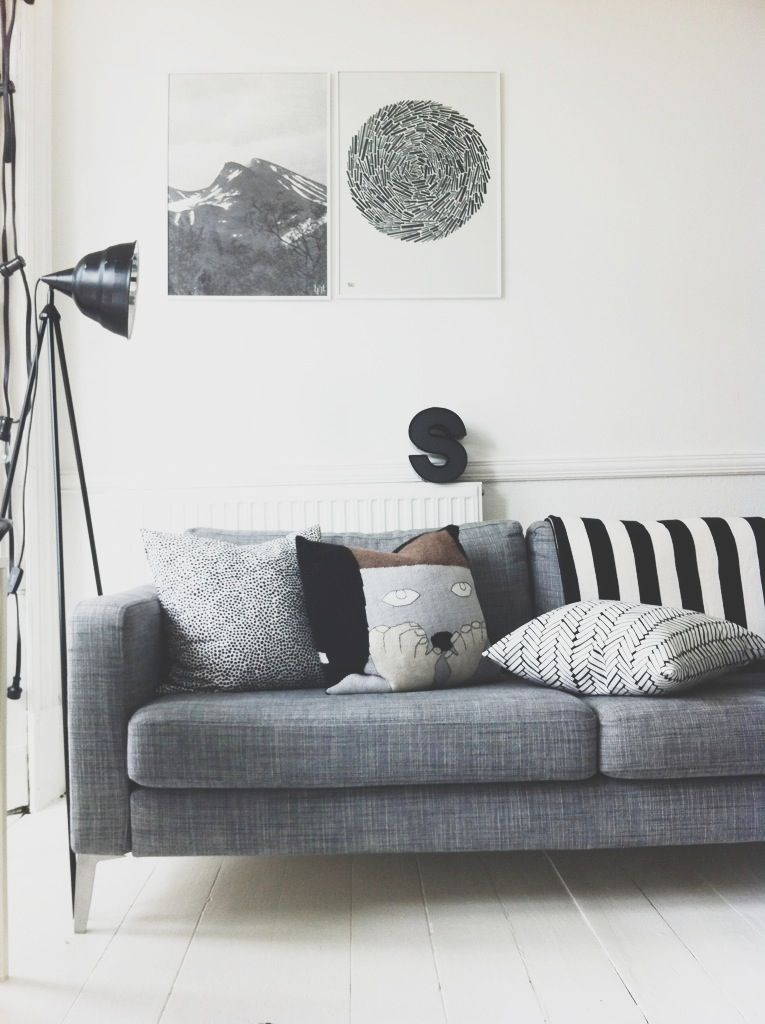 Grey Sofa With White Floor