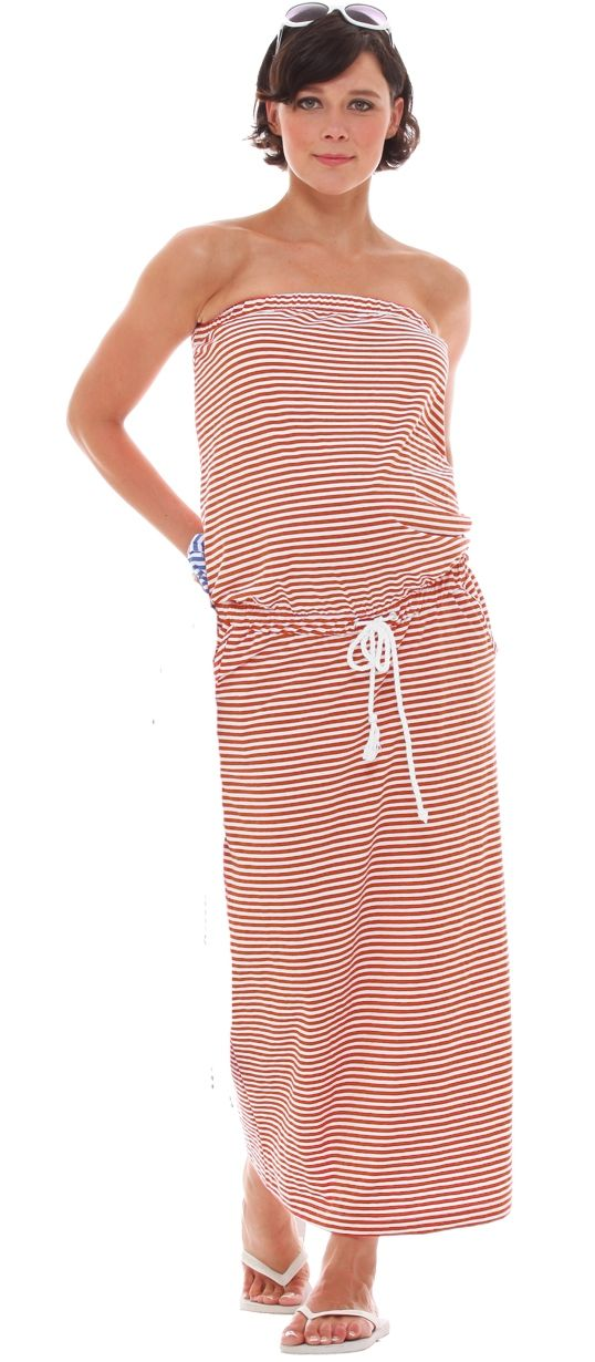 Jules and Jim Tube Dress in Orange/White available at Baby Bump in New Orleans 504.304.2737