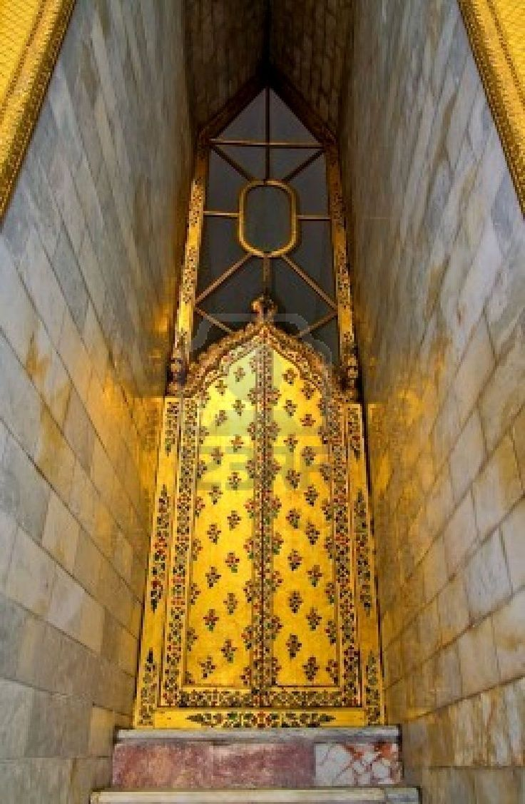 Golden doors with Thai design. Gold also called golden is one of a variety of yellow-orange color blends used to give the impression of the color of the ... & Golden doors with Thai design. Gold also called golden is one of a ...