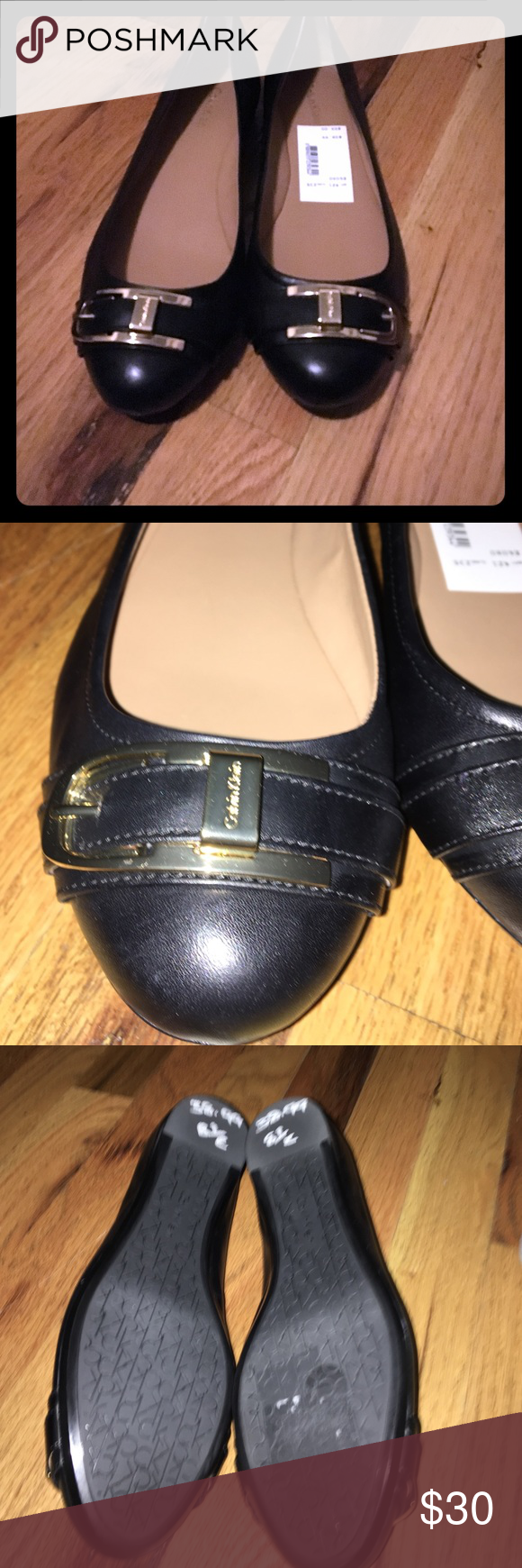 NWT Calvin Klein Flats NWT black with gold buckle Calvin Klein flats, I do not have the box, but tags are on shoes.Sz 8.5 Calvin Klein Shoes Flats & Loafers