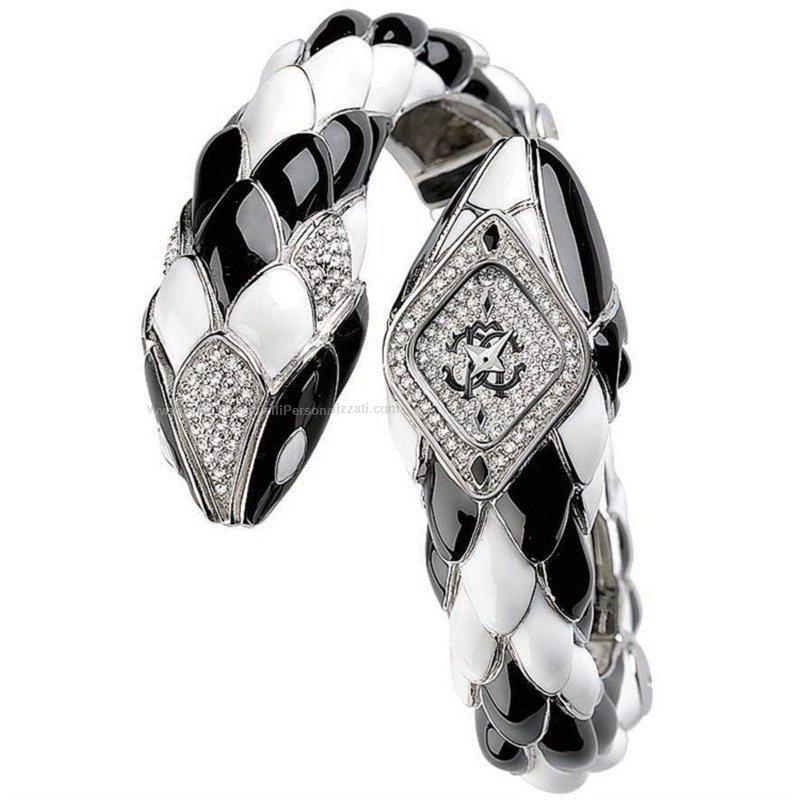 dcb3205d4c roberto cavalli black and white snake watch